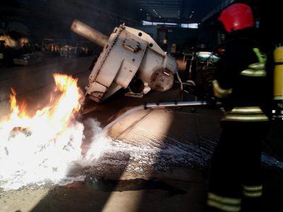Pożar w hali oddziału W-2
